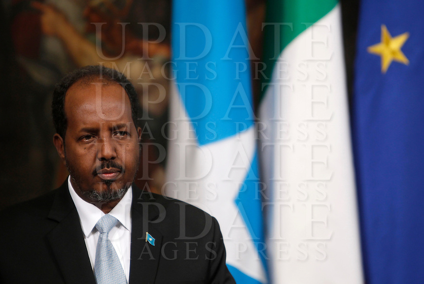 Il Presidente somalo Hassan Sheikh Mohamud durante una conferenza stampa congiunta con il Presidente del Consiglio italiano a Palazzo Chigi, Roma, 18 settembre 2013.<br /> Somalian Federal President Hassan Sheikh Mohamud attends a joint press conference with Italian Premier at Chigi Palace, Rome, 18 September 2013.<br /> UPDATE IMAGES PRESS/Isabella Bonotto