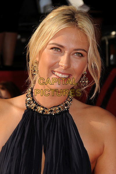Maria Sharapova.2011 ESPY Awards - Arrivals held at Nokia Theatre L.A. Live, Los Angeles, California, USA..July 13th, 2011.headshot portrait sleeveless black gold beads beaded collar jewel encrusted embellished .CAP/ADM/BP.©Byron Purvis/AdMedia/Capital Pictures.