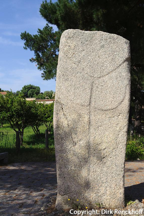 Prähistorische Ausgrabungen von Filitosa, Menhir Filitosa V, Korsika, Frankreich