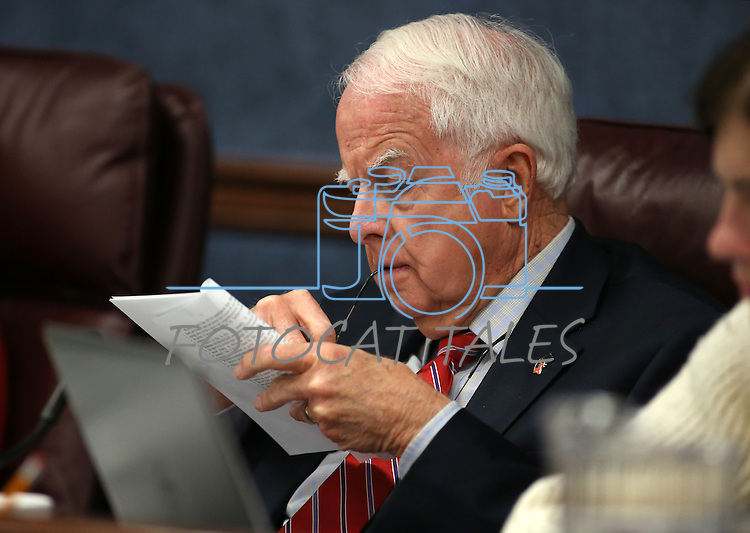 Nevada Assembly Legislative Operations and Elections committee chairman Lynn Stewart, R-Henderson, works in a hearing at the Legislative Building in Carson City, Nev., on Tuesday, March 24, 2015. The committee is considering a measure that would establish a cooling off period for state lawmakers who want to become lobbyists at the Legislature. <br /> Photo by Cathleen Allison