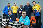 SCHIEDAM - NK reserveteams zaalhockey. Finale Tilburg D2-HDM D2 (1-3) . wedstreidleiding met op de achtergrond. Scheidsrechters Pascal Engelbertink Jos van der Til, ,Bram Struikmans , Ineke Blok.  COPYRIGHT KOEN SUYK