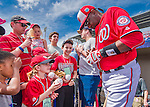 5 March 2016: Washington Nationals Manager Dusty Baker signs autographs prior to a Spring Training pre-season game against the Detroit Tigers at Space Coast Stadium in Viera, Florida. The Nationals defeated the Tigers 8-4 in Grapefruit League play. Mandatory Credit: Ed Wolfstein Photo *** RAW (NEF) Image File Available ***