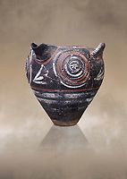 Minoan Kamares Ware with polychrome decorations on a rough prickly surface, Phaistos 1900-1700 BC; Heraklion Archaeological  Museum.<br /> <br /> This style of pottery is named afetr Kamares cave where this style of pottery was first found