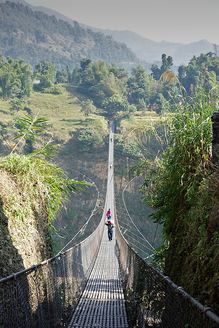 Suspension bridge in Pokharra,Nepal
