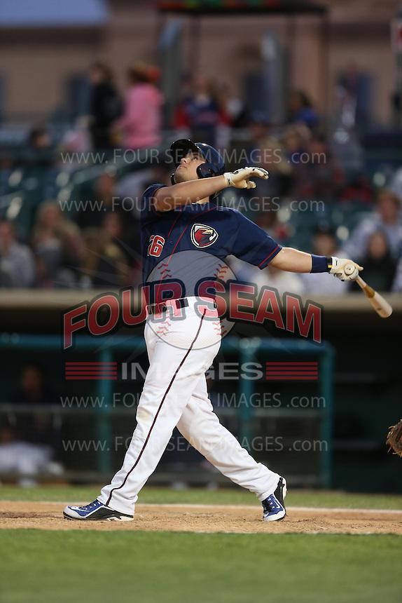 J.D. Davis (26) of the Lancaster JetHawks bats during a game against the San Jose Giants at The Hanger on April 11, 2015 in Lancaster, California. San Jose defeated Lancaster, 8-3. (Larry Goren/Four Seam Images)