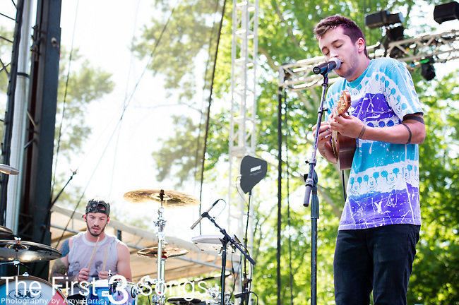 Tyler Joseph and Josh Dun of twenty one pilots perform during Day 1 of the 2013 Firefly Music Festival in Dover, Delaware.
