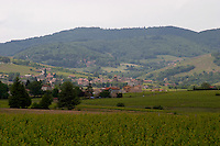 vineyard and village beaujolais burgundy france