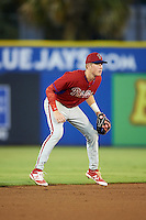 GCL Phillies shortstop Cole Stobbe (7) during the second game of a doubleheader against the GCL Blue Jays on August 15, 2016 at Florida Auto Exchange Stadium in Dunedin, Florida.  GCL Phillies defeated the GCL Blue Jays 4-0.  (Mike Janes/Four Seam Images)