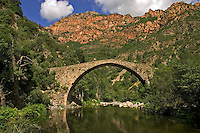 Corsica. France. Ponte Vecchiu, Genoese bridge over the River Porto near the Spelunca Gorges and the village of Ota. .