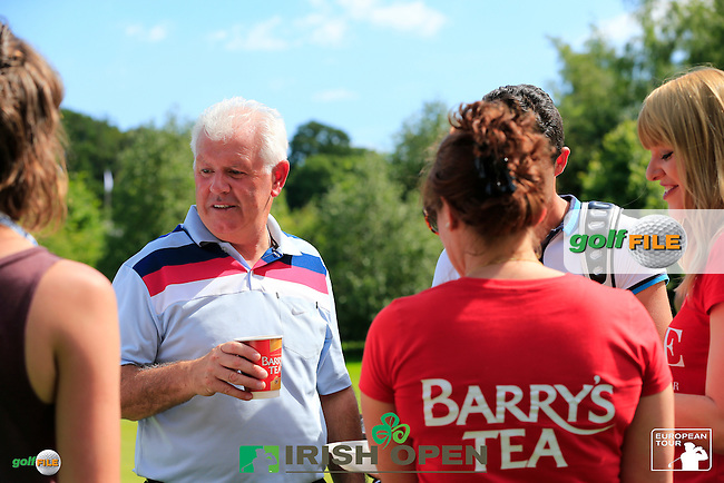Gerry McIlroy (NIR) enjoys a cup of Barrys Tea during Wednesday's Pro-Am of the 2014 Irish Open held at Fota Island Resort, Cork, Ireland. 18th June 2014.<br /> Picture: Eoin Clarke www.golffile.ie