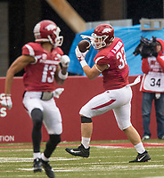 Hawgs Illustrated/BEN GOFF <br /> Hayden Johnson, Arkansas fullback, catches a pass in the fourth quarter against Mississippi State Saturday, Nov. 18, 2017, at Reynolds Razorback Stadium in Fayetteville.