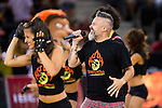 Music group Dr. Diablo singing the official song of the RutaÑ2016 during the  match of the preparation for the Rio Olympic Game at Madrid Arena. July 23, 2016. (ALTERPHOTOS/BorjaB.Hojas)