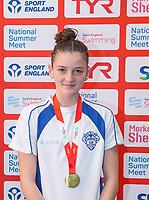 Picture by Allan McKenzie/SWpix.com - 05/08/2017 - Swimming - Swim England National Summer Meet 2017 - Ponds Forge International Sports Centre, Sheffield, England - Eliza Powell takes gold in the womens 12/13yrs 50m breaststroke.
