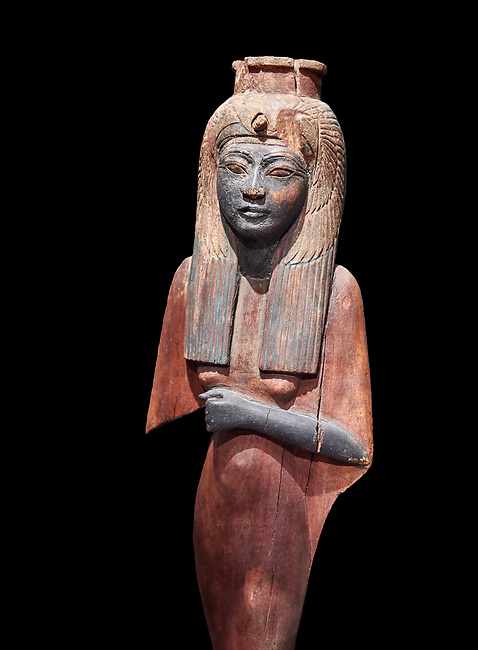 Ancient Egyptian voitive statue of Nefratari, New Kingdom, 19th -20th Dynasty, (1292-1076 BC, Deir el-Medina. Egyptian Museum, Turin. Cat 1349. black background.<br /> <br /> Queen Ahmose Neferatari, wife and mother of Amenhoptec I show the great devotion she was held in by ancient Egyptians. The inscription on the base name the dedicators of the statue