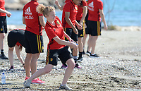 20180302 - LARNACA , CYPRUS :  Belgian Charlotte Tison pictured during a Muscular warm up training session on the beach before a women's soccer game between The Belgian Red Flames and Spain , on friday 2 March 2018 on the CTO Beach in Larnaca , Cyprus . The game will be the second game in group B for Belgium during the Cyprus Womens Cup , a prestigious women soccer tournament as a preparation on the World Cup 2019 qualification duels. PHOTO SPORTPIX.BE | DAVID CATRY