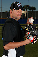 March 1, 2010:  Pitcher Luis Perez (47) of the Toronto Blue Jays poses for a photo during media day at Englebert Complex in Dunedin, FL.  Photo By Mike Janes/Four Seam Images