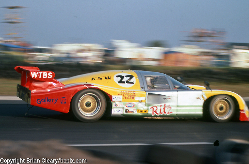 The #22 Nimrod Racing Aston Martin Nimrod of Reggie Smith, Lynne St. James and Drake Olson races to a 5th place finish at  the 12 Hours of Sebring endurance sports car race, March 19, 1983.  (Photo by Brian Cleary/www.bcpix.com)