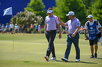 Ian Poulter (GBR) and Graeme McDowell (NIR) approach the green on 17 during Round 2 of the Zurich Classic of New Orl, TPC Louisiana, Avondale, Louisiana, USA. 4/27/2018.<br /> Picture: Golffile | Ken Murray<br /> <br /> <br /> All photo usage must carry mandatory copyright credit (&copy; Golffile | Ken Murray)