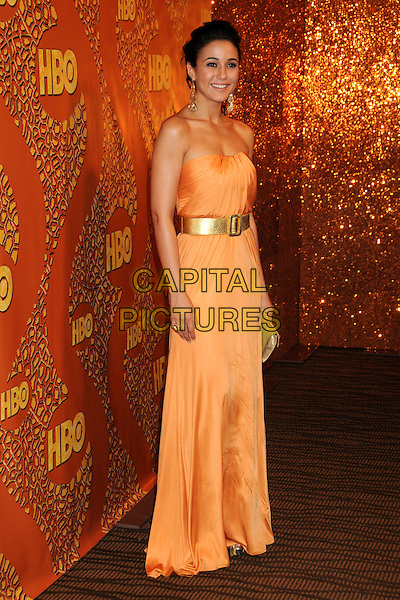 EMMANUELLE CHRIQUI.HBO's 2010 67th Golden Globe Awards Post Party held at the Beverly Hilton Hotel, Beverly Hills, California, USA. .January 17th, 2009 .globes full length maxi dress belt clutch bag orange strapless gold.CAP/ADM/BP.©Byron Purvis/Admedia/Capital Pictures