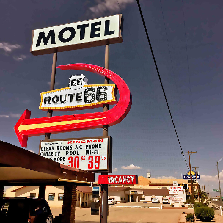 Retro motel street sign in USA