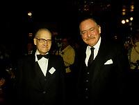 Montreal (QC) CANADA - File Photo circa 1987 - Albert-Francois Anger (L) and Jacques Parizeau (R)