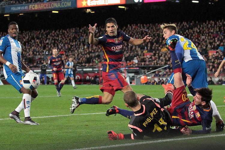 Copa del Rey 2015/2016 - 1/8 final ida.<br /> FC Barcelona vs RCD Espanyol: 4-1.<br /> Pape Diop, Luis Suarez, Pau Lopez, Lionel Messi &amp; Antonio Raillo.