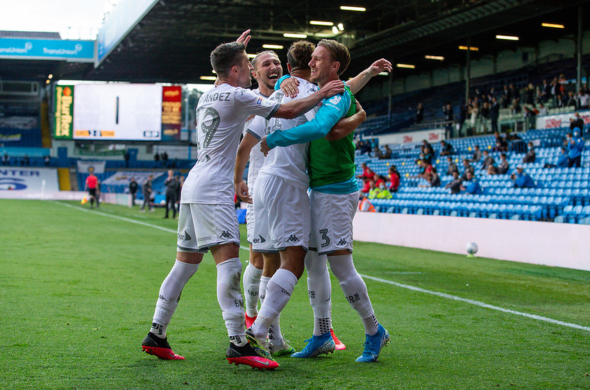 Leeds United's Tyler Roberts celebrates scoring his side's third goal with teammates<br /> <br /> Photographer Alex Dodd/CameraSport<br /> <br /> The EFL Sky Bet Championship - Leeds United v Charlton Athletic - Wednesday July 22nd 2020 - Elland Road - Leeds <br /> <br /> World Copyright © 2020 CameraSport. All rights reserved. 43 Linden Ave. Countesthorpe. Leicester. England. LE8 5PG - Tel: +44 (0) 116 277 4147 - admin@camerasport.com - www.camerasport.com