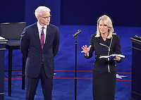 Debate moderators Anderson Cooper, left, and Martha Raddatz, right, address the audience prior to former United States Secretary of State Hillary Clinton, the Democratic Party nominee for President of the US and businessman Donald J. Trump, the Republican Party candidate for President of the US, appearing in the second of three presidential general election debates at Washington University in St. Louis, Missouri on Sunday, October 8, 2016.<br />