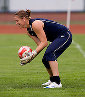 USWNT goalkeeper Nicole Barnhart makes a save during practice at Beijing Normal University for the upcoming semi-final game against Japan in the 2008 Beijing Olympics in Beijing, China.