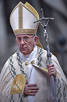 Pope Francis leads a consistory for the creation of five new cardinals  at St Peter's basilica in Vatican.  from countries  : El Salvador, Laos, Mali,Sweden and Spain.<br />