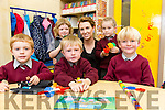 First Day for Junior Infants of Sliabhawaddra NS Ballyduff on Friday l-r  Finn O'Sullivan, Cillian Flahive, Jack O'Gorman, Evee O'Connor, Class Teacher, Aoife McMahon and Patsy Rose Byrne