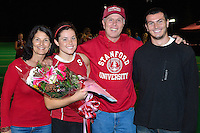 STANFORD, CA - OCTOBER 21, 2011: Katie Mitchell and family celebrate the redshirt junior's career at Stanford during half-time at a game between Stanford field hockey and UC Davis at the Varsity Field Hockey Turf in Stanford, California on October 21, 2011.  Stanford defeated UC Davis, 5-0.