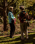 October 26, 2017. Raleigh, North Carolina.<br /> <br /> Garden dedication attendees chat before the speakers took to the podium. <br /> <br /> A new garden designed by Ben Skelton containing native Plants For Birds was dedicated at the North Carolina Executive Mansion.