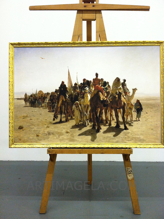 Reproduction of Leon Belly (1827-1877),<br /> Pilgrims en Route to Mecca. 1861. Oil on canvas, 34 1/4&quot; x 53 1/4&quot; Framed in 2&quot; Gold Frame