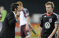 DC United Head Coach Ben Olsen gives instructions to midfielder Dax McCarty (10)  DC United tied The Colorado Rapids 1-1, at RFK Stadium, Saturday  May 14, 2011.
