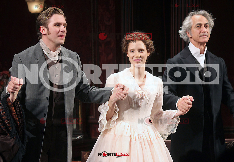 """Dan Stevens, Jessica Chastain and David Strathairn taking their opening night curtain call in the Broadway play """"The Heiress"""" at The Walter Kerr Theatre in New York, 01.11.2012...Credit: Rolf Mueller/face to face / MediaPunch Inc  **online only for weekly magazines**** .<br /> ©NortePhoto"""