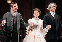 "Dan Stevens, Jessica Chastain and David Strathairn taking their opening night curtain call in the Broadway play ""The Heiress"" at The Walter Kerr Theatre in New York, 01.11.2012...Credit: Rolf Mueller/face to face / MediaPunch Inc  **online only for weekly magazines**** .<br />