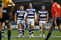 David Wilson, Dave Attwood and Leroy Houston approach a lineout. Amlin Challenge Cup Final, between Bath Rugby and Northampton Saints on May 23, 2014 at the Cardiff Arms Park in Cardiff, Wales. Photo by: Patrick Khachfe / Onside Images
