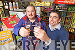 Lucky winner Paul Collins(left) from Athea who won over 50,000 in the Euromillions, pictured here with local shopkeeper Paul Collins last Saturday afternoon.