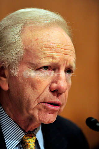 United States Senate Homeland Security and Government Affairs Committee Chairman Joseph Lieberman (Independent Democrat of Connecticut) makes opening remarks as U.S. Secretary of Homeland Security Janet Napolitano testifies before the committee on the  fiscal 2012 budget for the programs and activities of the Department of Homeland Security in Washington, D.C. on Thursday, February 17, 2011. .Credit: Ron Sachs / CNP/MediaPunch