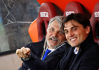 Calcio, Serie A: Roma vs Sampdoria. Roma, stadio Olimpico, 7 febbraio 2016.<br /> Sampdoria's president Massimo Ferrero, left, talks to coach Vincenzo Montella prior to the start of the Italian Serie A football match between Roma and Sampdoria at Rome's Olympic stadium, 7 January 2016.<br /> UPDATE IMAGES PRESS/Riccardo De Luca