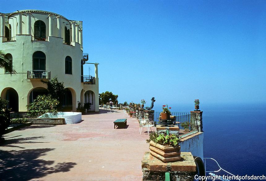 Italy: Capri--Hotel Caesar Augustus, Anacapri. Terrace and sea. Photo '83.