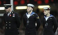 Members of the Royal navy line up ahead of start of the game <br /> <br /> Photographer Ian Cook/CameraSport<br /> <br /> Under Armour Series Autumn Internationals - Wales v Australia - Saturday 10th November 2018 - Principality Stadium - Cardiff<br /> <br /> World Copyright © 2018 CameraSport. All rights reserved. 43 Linden Ave. Countesthorpe. Leicester. England. LE8 5PG - Tel: +44 (0) 116 277 4147 - admin@camerasport.com - www.camerasport.com