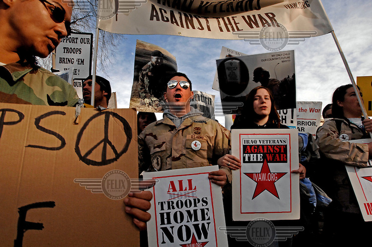 Iraq Veterans Against the War (IVAW) and other protesters rally in Washington DC to press their cause with a Congress about to make a decision whether to increase the number of American troops in the ongoing war in Iraq.