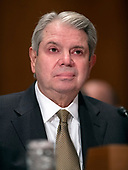 """Eugene L. Dodaro, Comptroller General of the United States, US Government Accountability Office, testifies before the United States Senate Committee on Homeland Security & Governmental Affairs during a hearing entitled """"Examining CMS's Efforts to Fight Medicaid Fraud and Overpayments"""" on Capitol Hill in Washington, DC on Tuesday, August 21, 2018.<br /> Credit: Ron Sachs / CNP"""