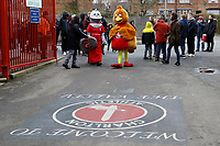 Sir Valiant and Robyn approach the end of the Red, White & Black day procession in support of Charlton Athletic Race & Equality Partnership (CARE) during the Sky Bet League 1 match between Charlton Athletic and Fleetwood Town at The Valley, London, England on 17 March 2018. Photo by Carlton Myrie.