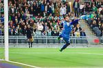 Stockholm 2014-09-21 Fotboll Superettan Hammarby IF - Syrianska FC :  <br /> Syrianskas m&aring;lvakt Dejan Garaca sl&auml;nger sig efter ett skott<br /> (Foto: Kenta J&ouml;nsson) Nyckelord:  Superettan Tele2 Arena Hammarby HIF Bajen Syrianska FC SFC