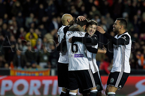 9th January 2018, Mestalla Stadium, Valencia, Spain; Copa del Rey football, round of 16, second leg, Valencia versus Las Palmas; Luciano Vietto (2nd right) celebrates a goal with other players of Valencia Cf
