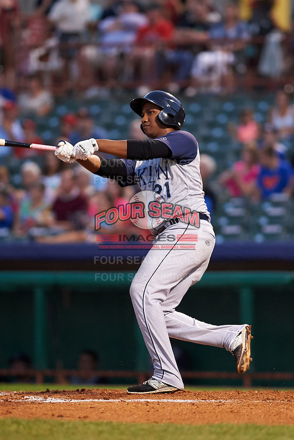 Brooklyn Cyclones outfielder Pedro Perez (21) at bat during a game against the Tri-City ValleyCats on September 1, 2015 at Joseph L. Bruno Stadium in Troy, New York.  Tri-City defeated Brooklyn 5-4.  (Mike Janes/Four Seam Images)
