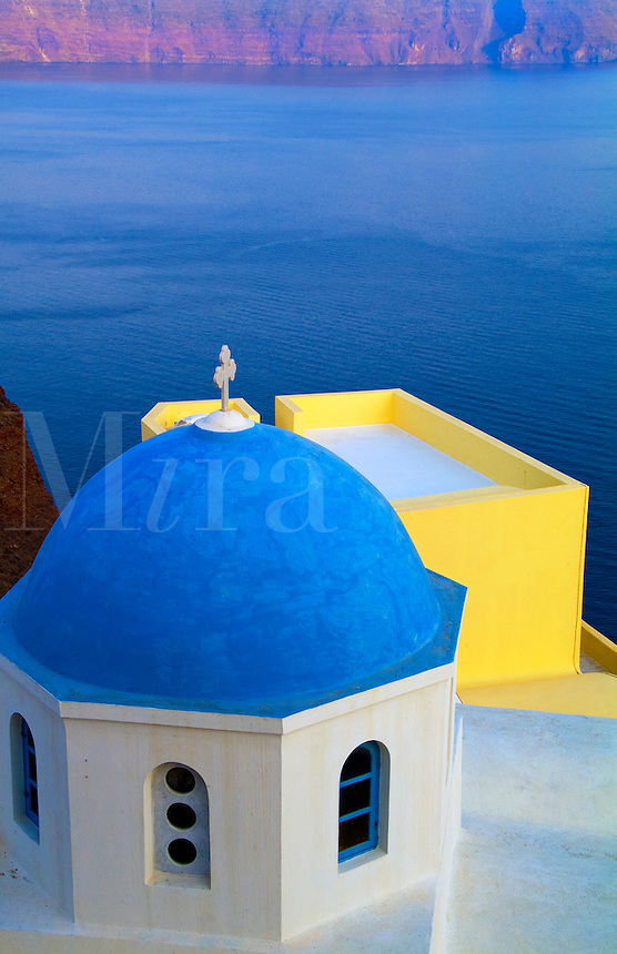 Church with blue roof, Oia Santorini, Greece